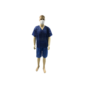 Comfortable short Sleeve Disposable SBPP/SMS Scrub Suit